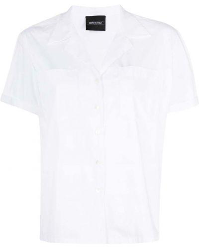 Хлопковая белая классическая рубашка с короткими рукавами Simonetta Ravizza