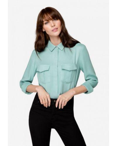 Блузка с длинным рукавом бирюзовая осенняя Solou
