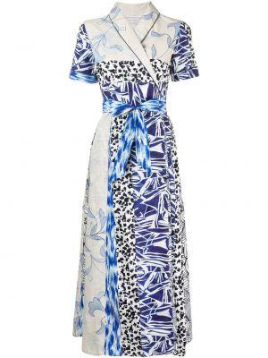 Прямое с рукавами синее платье Pierre-louis Mascia