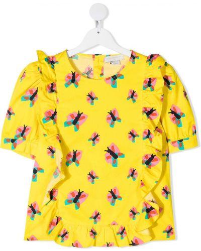 Блузка с короткими рукавами со вставками с вырезом Stella Mccartney Kids