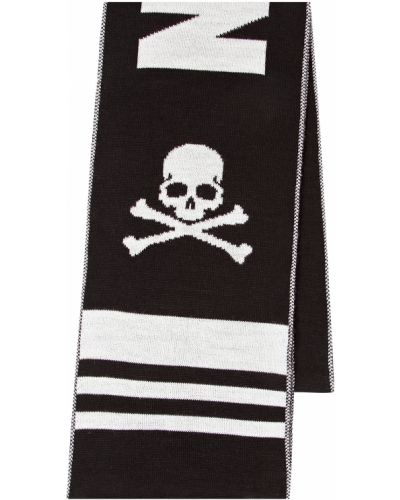 Шерстяной черный шарф Philipp Plein