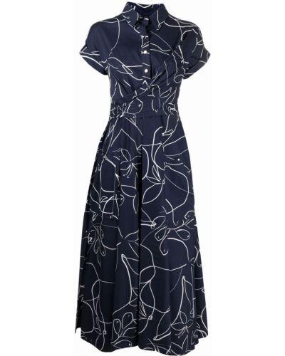 Хлопковое платье миди - синее Talbot Runhof
