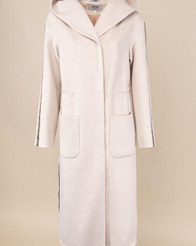 Бежевое шерстяное пальто с капюшоном каляев