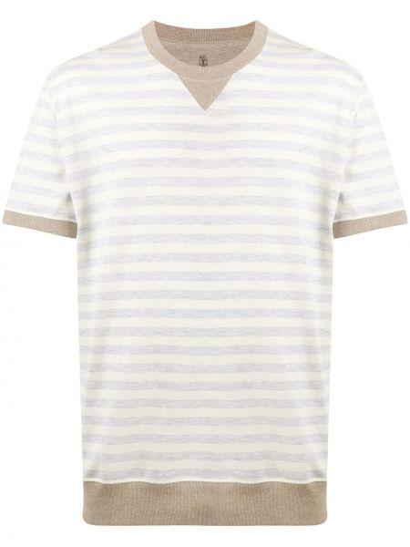Koszula krótkie z krótkim rękawem z paskami w paski Brunello Cucinelli