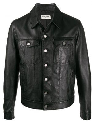 Klasyczna czarna długa kurtka bawełniana Saint Laurent