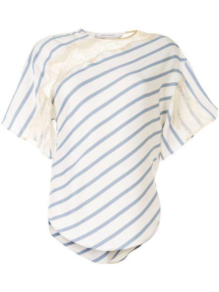 Niebieski t-shirt w paski koronkowy Cedric Charlier
