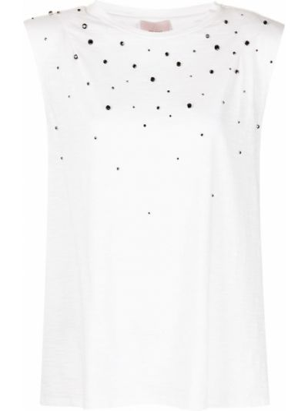 Прямая белая футболка со стразами Cinq À Sept