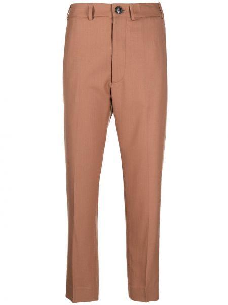 Шерстяные коричневые укороченные брюки с карманами Vivienne Westwood