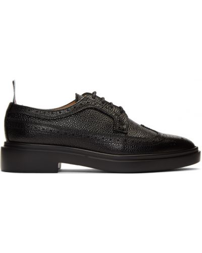 Koronkowa czarny buty brogsy z prawdziwej skóry zasznurować Thom Browne