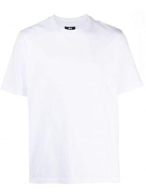Хлопковая белая футболка с вышивкой Stussy