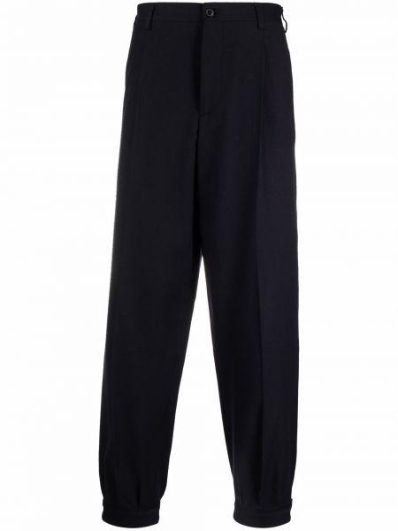 Niebieskie spodnie z paskiem wełniane Giorgio Armani