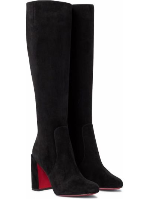 Черные кожаные ботинки до середины колена Christian Louboutin