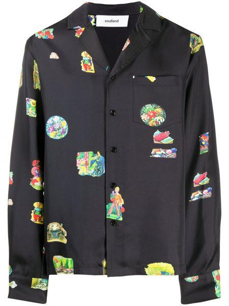 Черная прямая рубашка с воротником на пуговицах Soulland