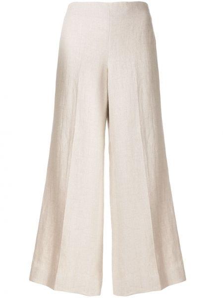 Льняные укороченные брюки с поясом свободного кроя с потайной застежкой Theory