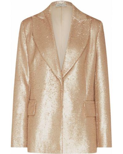 Приталенный костюм золотой с поясом ли-лу