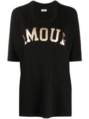 С рукавами черная футболка с надписью Zadig&voltaire