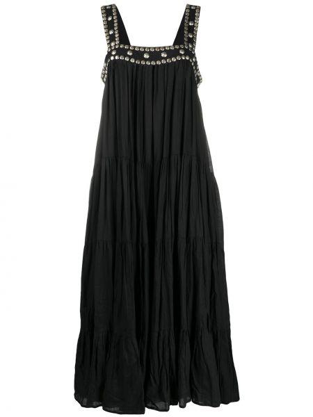 Черное платье миди без рукавов с вырезом квадратное Mes Demoiselles