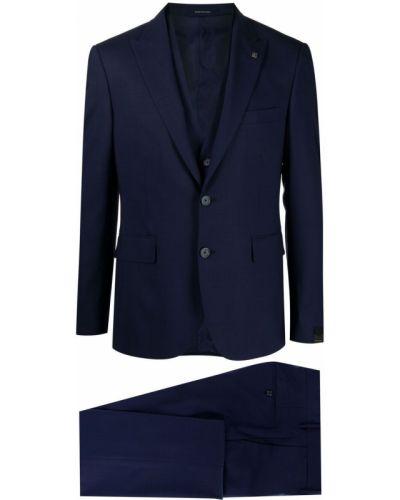 Костюмный шерстяной синий костюм-тройка Tagliatore