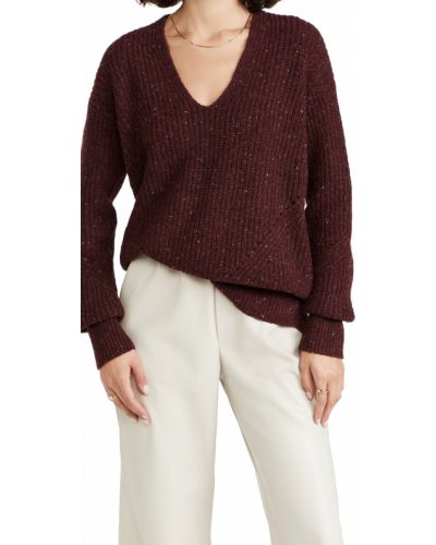 Sweter wełniany - bordowy Rag & Bone