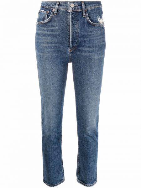 Синие хлопковые джинсы с карманами классические Agolde