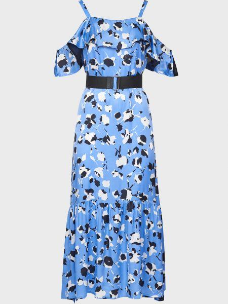 Платье с поясом - голубое Sfizio