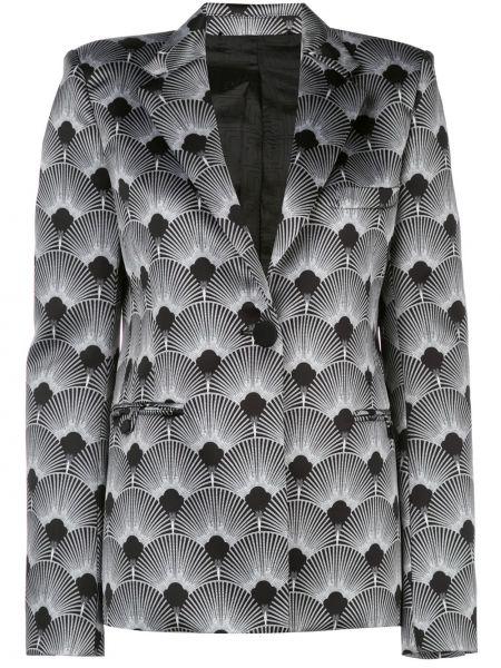 Черный удлиненный пиджак с карманами Paco Rabanne