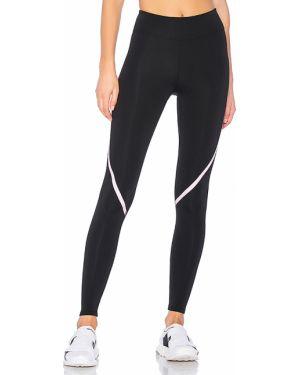 Czarne spodnie z nylonu z printem Lovewave