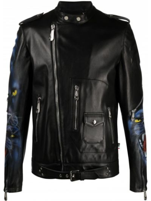 Czarna długa kurtka skórzana asymetryczna Philipp Plein