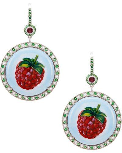 Серебряные серьги с топазом с рисунком Axenoff Jewellery