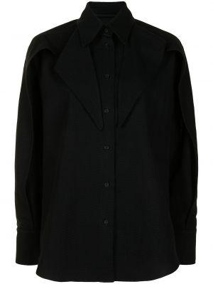 Czarna koszula bawełniana z długimi rękawami Maticevski