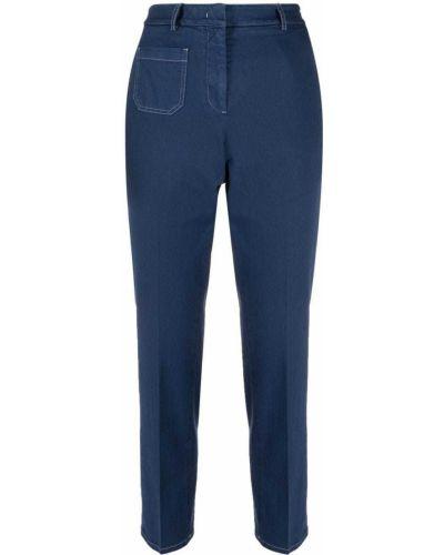 Темно-синие прямые укороченные джинсы с карманами Incotex