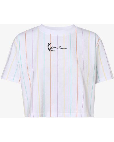 Biała t-shirt w paski Karl Kani