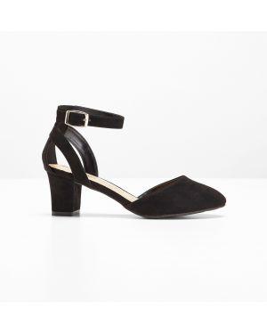 Туфли на каблуке черные с ремешком Bonprix