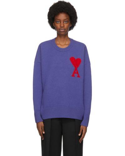 Шерстяной фиолетовый свитер с воротником с манжетами Ami Alexandre Mattiussi