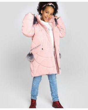 Розовая куртка ветрозащитная на молнии с декоративной отделкой Ostin