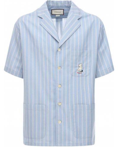 Biały koszula na przyciskach z kieszeniami z łatami Gucci