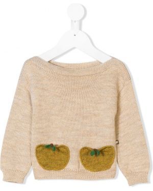 Beżowy sweter wełniany z długimi rękawami Oeuf