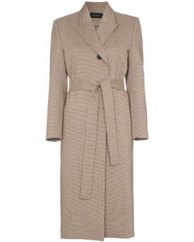 Бежевое пальто классическое с капюшоном на пуговицах Low Classic