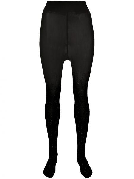 Черные колготки с высокой посадкой эластичные с заклепками Gucci