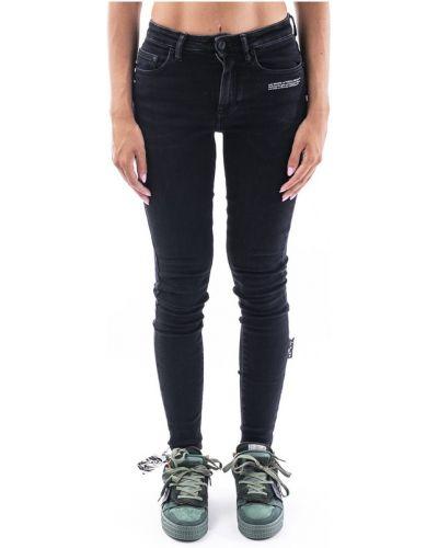 Czarne spodnie rurki z printem Off-white