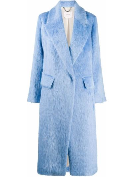 Однобортное синее шерстяное длинное пальто с карманами Dorothee Schumacher