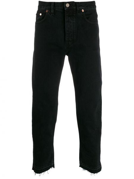 Черные прямые джинсы с заплатками с карманами с рукавом 3/4 Harmony Paris