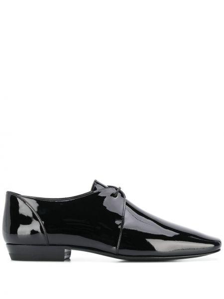 Туфли на каблуке черные на низком каблуке Saint Laurent