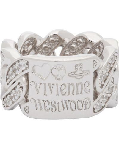 Biały pierścionek srebrny Vivienne Westwood