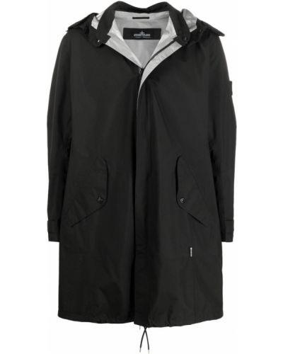 Czarny płaszcz przeciwdeszczowy z długimi rękawami Stone Island Shadow Project
