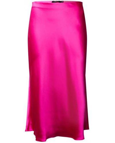 Satynowa różowa spódnica midi rozkloszowana Lauren Ralph Lauren