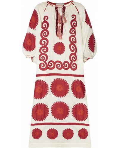 С рукавами красное платье макси с поясом Vita Kin