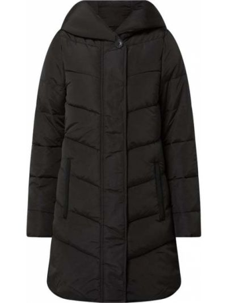 Czarny płaszcz z kapturem zapinane na guziki Tom Tailor