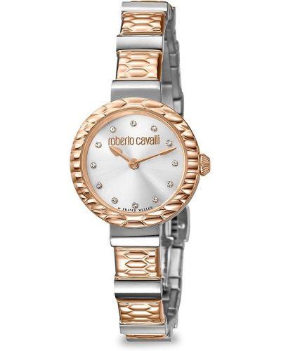 С ромбами кварцевые часы золотые с бриллиантом Roberto Cavalli