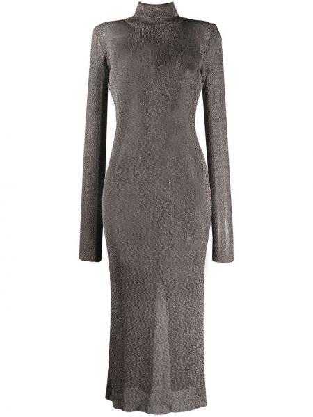 Коричневое открытое платье с открытой спиной с карманами Mugler